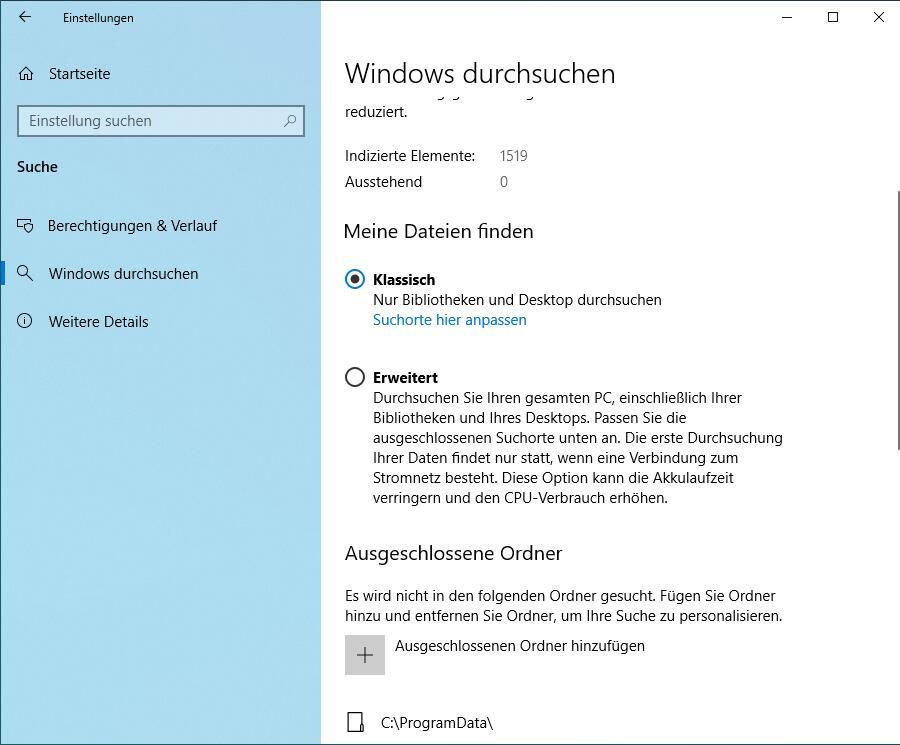 Erweiterten Suchmodus Windows 10