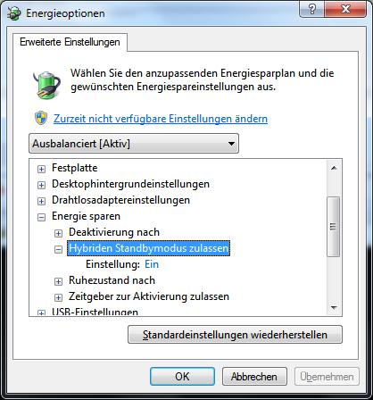 Windows 10 Ruhezustand