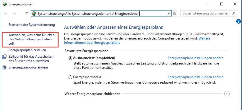 Ruhezustand Windows 10