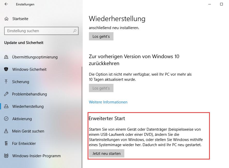 Systemabbild Windows 10